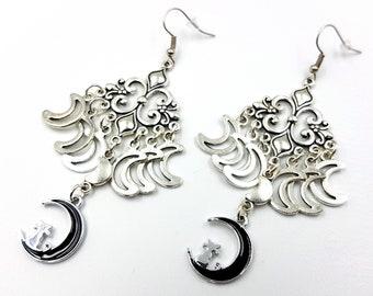 Triple Moon Crescent Earrings