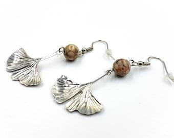 Ginkgo Leaf Earrings with Maifan Stones (Maifanite)