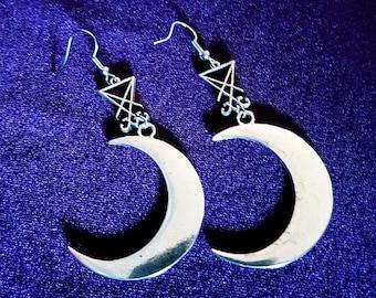 Sigil of Lucifer Crescent Moon Earrings
