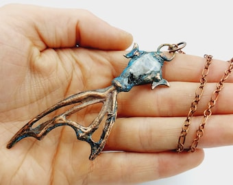 Electroformed Vampire Coffin Batwing Necklace with Moonstone Crystal (Copper)