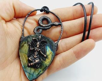 Electroformed Baphomet Serpent Necklace with Labradorite Crystal (Copper)
