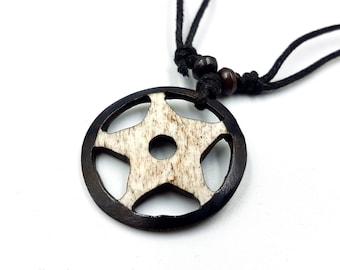 Inverted Pentagram Bone Pendant