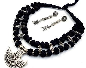 Black Maha Shivaratri Necklace & Earstuds (Set)
