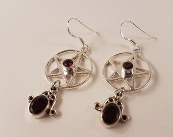 Garnet Pentagram Earrings ( Sterling Silver 925 )