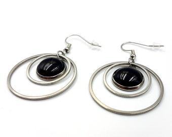 Stainless Steel Gemstone Ring Earrings (Amethyst or Black Agate)