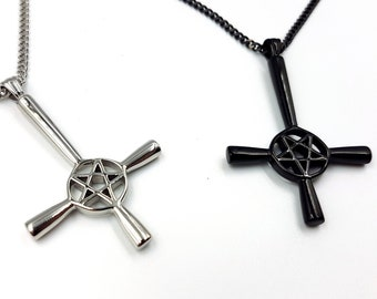 Inverted Pentagram Cross Necklace (Black / Silver - Stainless Steel)