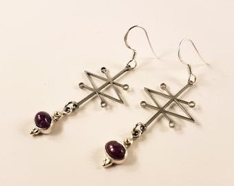 Sigil of Azazel Ruby Earrings (Sterling Silver 925 )