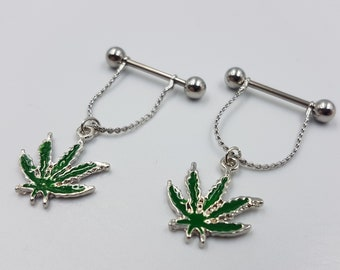 Cannabis Leaf Nipple Piercing