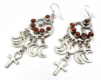 Crescent Moon Ankh Earrings (Goldstone)