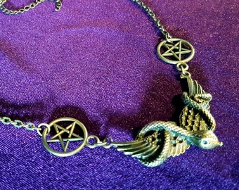 Serpent  Inverted Pentagram Necklace