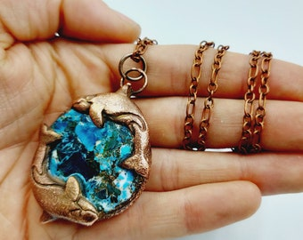Electroformed Dolphin Necklace with Arizona Turquoise Gemstone (Copper)