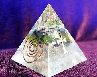 Handcrafted Orgonite Resin Pyramid - Spiritual healing gemstone copper spiral orgone energy