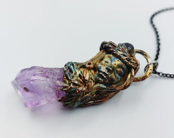 Electroformed Sculpted Fairy Necklace with Amethyst & Moonstone (Copper)