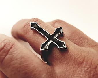 Black Inverted Cross Ring