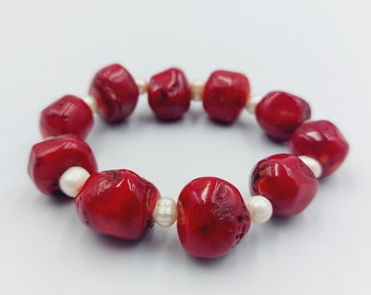 Vintage Red Coral Bracelet with Abalone Shell Pearls