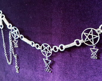 Sigil of Lucifer Pentagram Hip Chain Belt