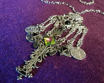 Elemental Cross Necklace - Occult gothic witch neckpiece