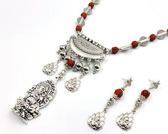 Ganesh Prosperity Rudraksha Necklace & Earrings Set