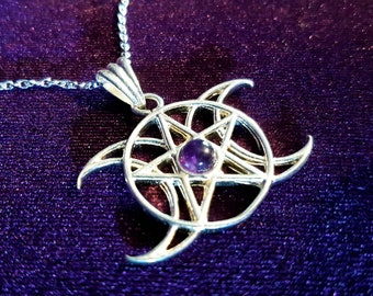 Hecate Triple Moongoddess Amethyst Necklace
