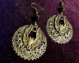 Night Mandala Bat Earrings