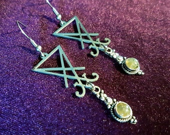 Sigil of Lucifer Earrings with Labradorite ( Stainless Steel )