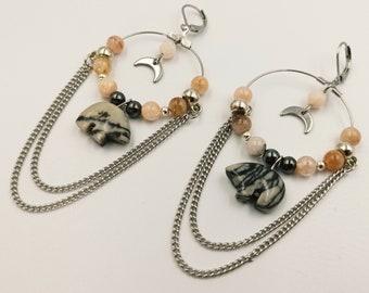 Zuni Bear Morganite Earrings (Picasso Marble Bear)