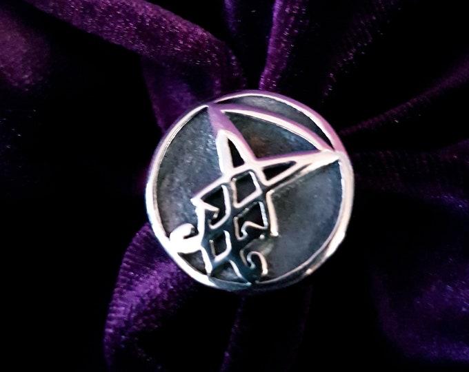 Sigil of Lucifer Ring - occult goth gothic sigil of lucifer earring left hand path luciferian curved sigil ring