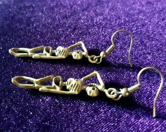 Skeleton Hangman Earrings (Bronze colour)