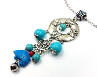 Zuni Bear Fetish Necklace (Turquoise)