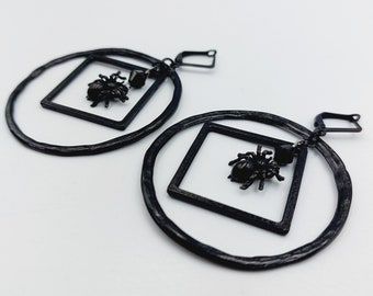 Abstract Spider Earrings (Black Copper)