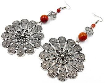 Carnelian Rosette Earrings
