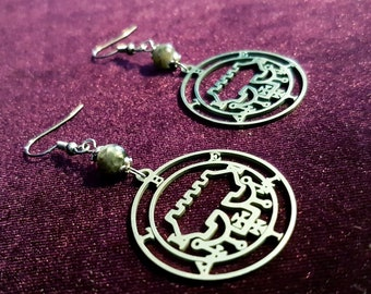 Sigil of Belial Labradorite Earrings (Stainless Steel)