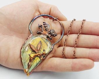 Electroformed & Sculpted Dragon Fairy Labradorite Necklace (Copper)