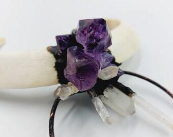 Amethyst Crystal Jabali Double Tusk Necklace (Electroformed Copper)