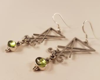 Sigil of Lucifer Peridote Earrings ( Sterling Silver 925 )