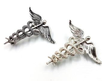 Caduceus Safety Pins (2 Styles)
