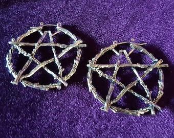 Pagan Pentagram Hoop Earrings