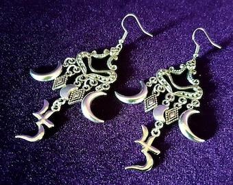 Crescent Moon Sopor Earrings - Jusa Sigil Sopor Aeternus symbol goth gothic Anna Varney Cantodea Jupiter Saturn