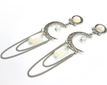 Elegant Opalite Moon Earstuds / Plugs