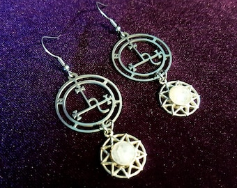Sigil of Lilith Earrings with Moonstone (Stainless Steel)