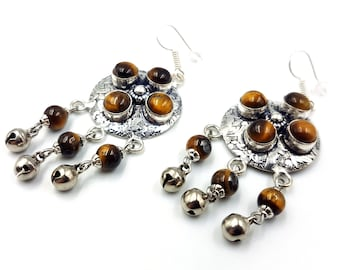 Tiger Eye Crystal Bell Earrings