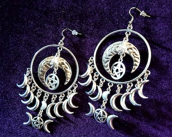 Hecate Triple Moongoddess Crescent Earrings