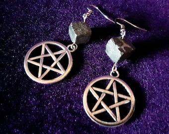 Pyrite Cube Pentagram Earrings