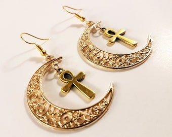 Mini Ankh Crescent Moon Earrings (Available with 14k gold earhooks)