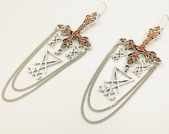 Luciferian Inverted Cross Earrings