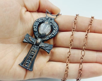 Electroformed Egyptian Ankh Necklace with Moonstone Crystals (Copper)