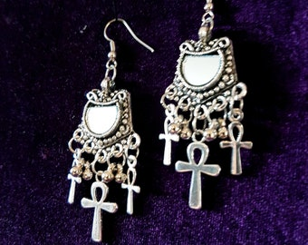 Vintage Ankh Mirror Earrings