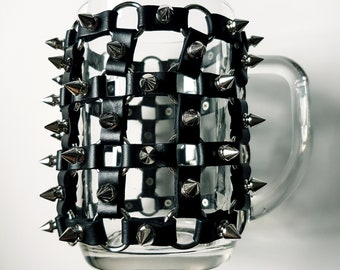 Leather Metal Studded Beerglass