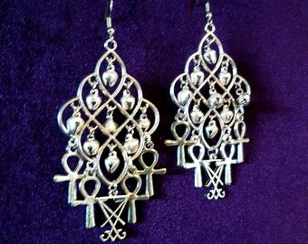 Luciferian Ankh Bell Earrings