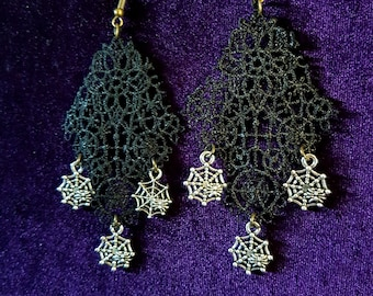 Black Gothic Spider Web Earrings